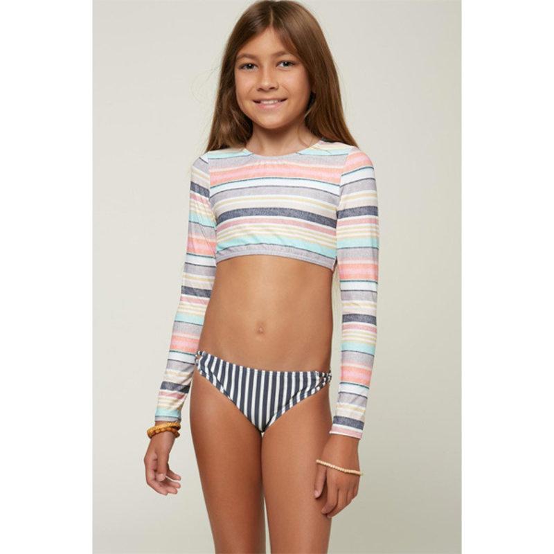 O'Neill O'Neill Girls Cruz Stripe LS Crop Top Set