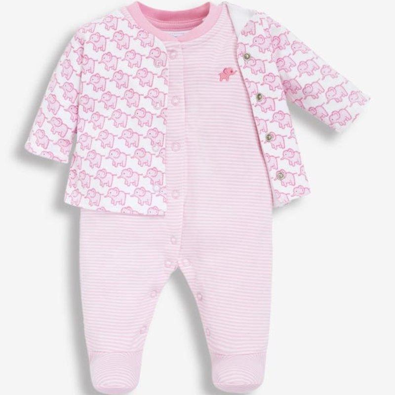 JoJo Maman Bebe JoJo Maman 2PC Elephant Sleepsuit Set