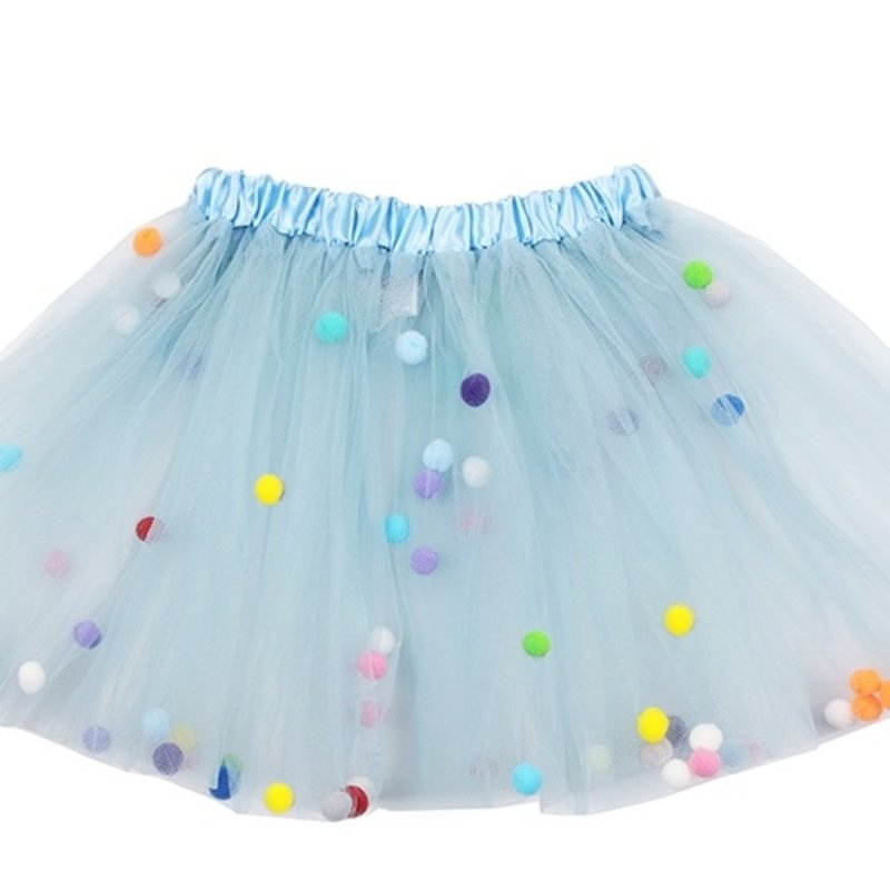 Sparkle Sisters Light Blue Pom Pom Tutu