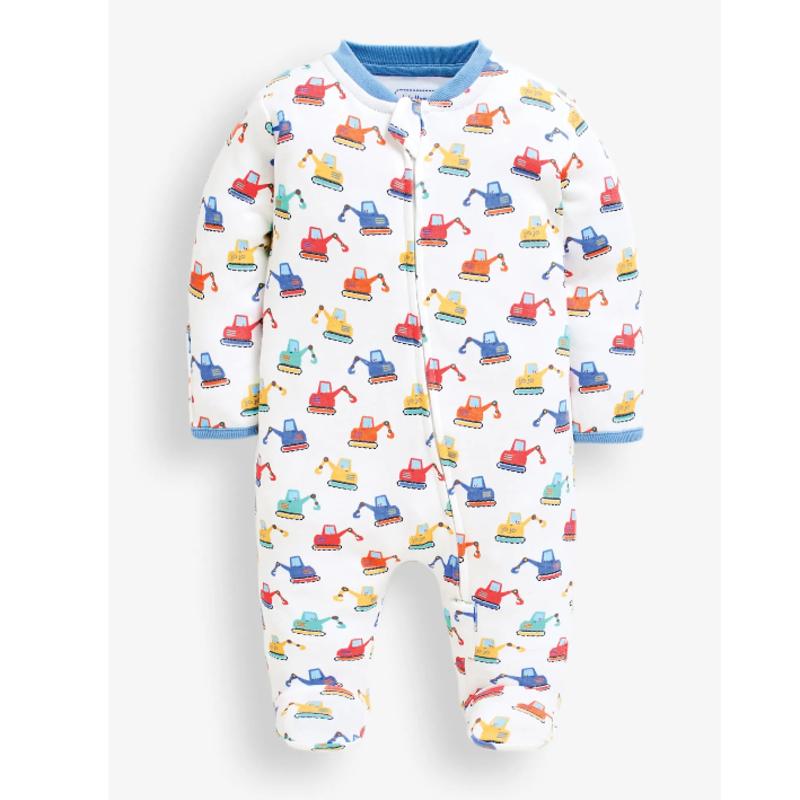 JoJo Maman Bebe JoJo Maman Digger Zip Baby Sleepsuit