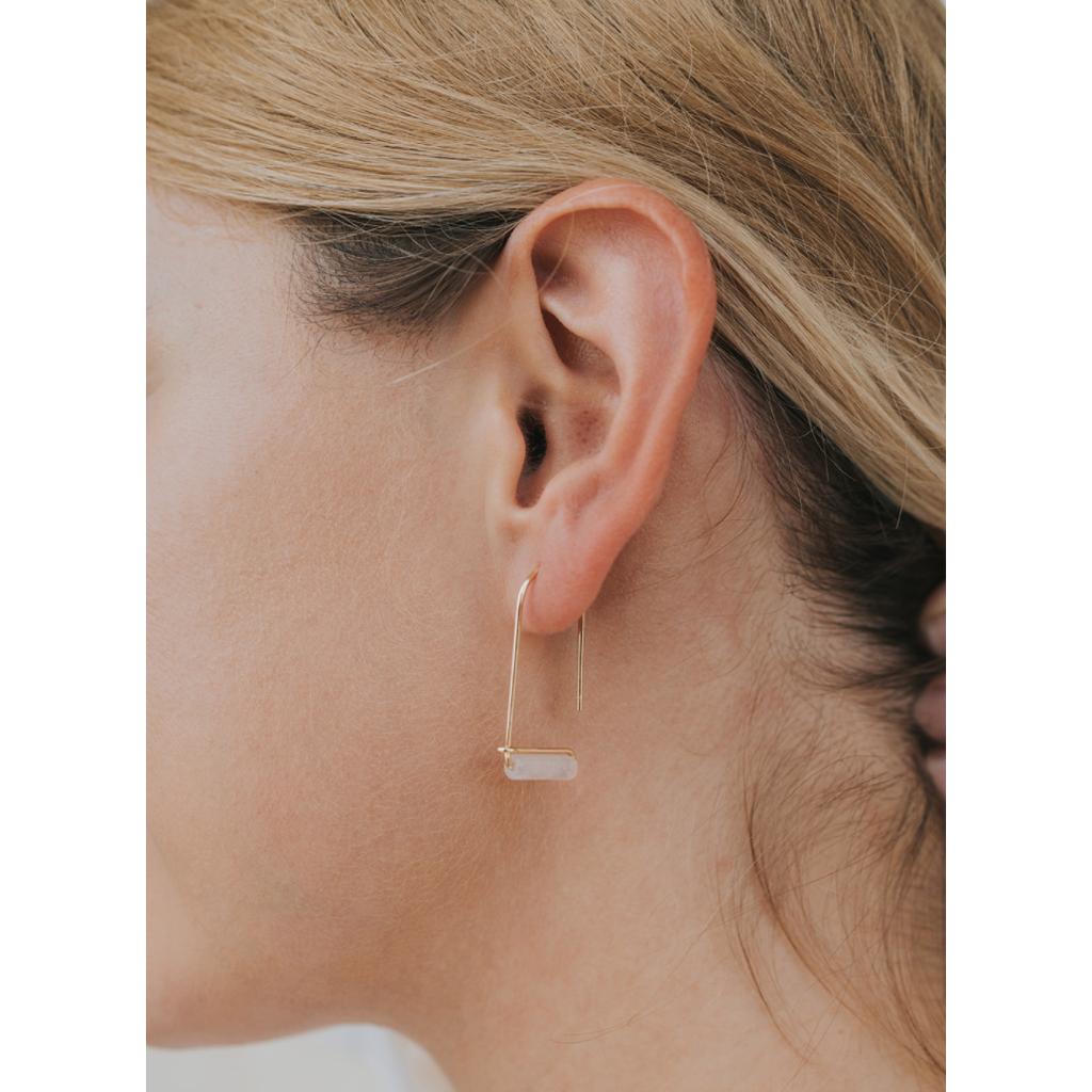 JaxKelly Rose Quartz Gemstone Drop Earrings
