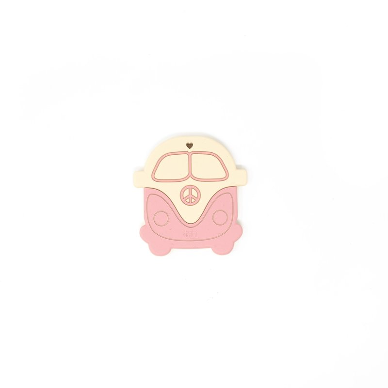 Three Hearts Teether Peace Bus - DUSTY ROSE