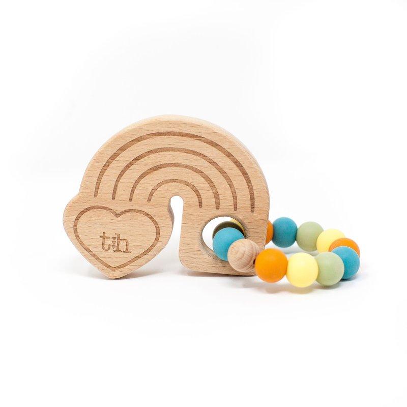 Three Hearts Rainbow Teether - AQUA