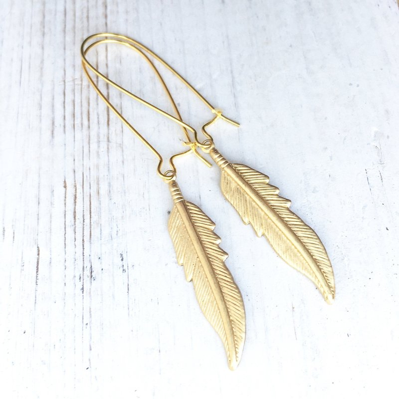 Red Truck Designs Feather Earrings Long - GOLD