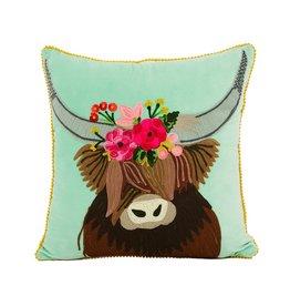 "Karma Living  HIGHLAND COW CUSHION 18x18"""