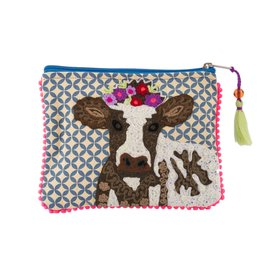 """Karma Living Cow Pouch with Tassel 6 x 8"""""""