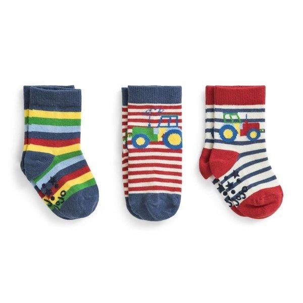 JoJo Maman Bebe JoJo Maman Bebe 3pk Tractor Socks