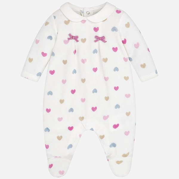 Mayoral Mayoral Baby Girl Velour Heart Onesie