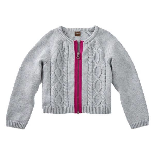 Tea Collection Tea Collection Girls Donegal Cable Zip Cardigan