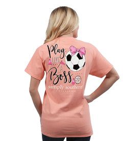 SIMPLY SOUTHERN TEES PREPPY SOCCER PEACHY LARGE