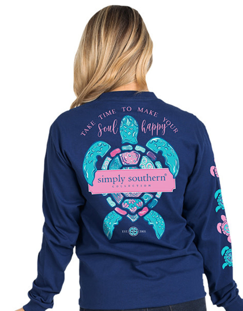 SIMPLY SOUTHERN TEES SOUL HAPPY MIDNIGHT BLUE LONG SLEEVE TEE SHIRT LARGE