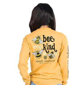 SIMPLY SOUTHERN TEES BEE KIND MUSTARD LONG SLEEVE TEE SHIRT