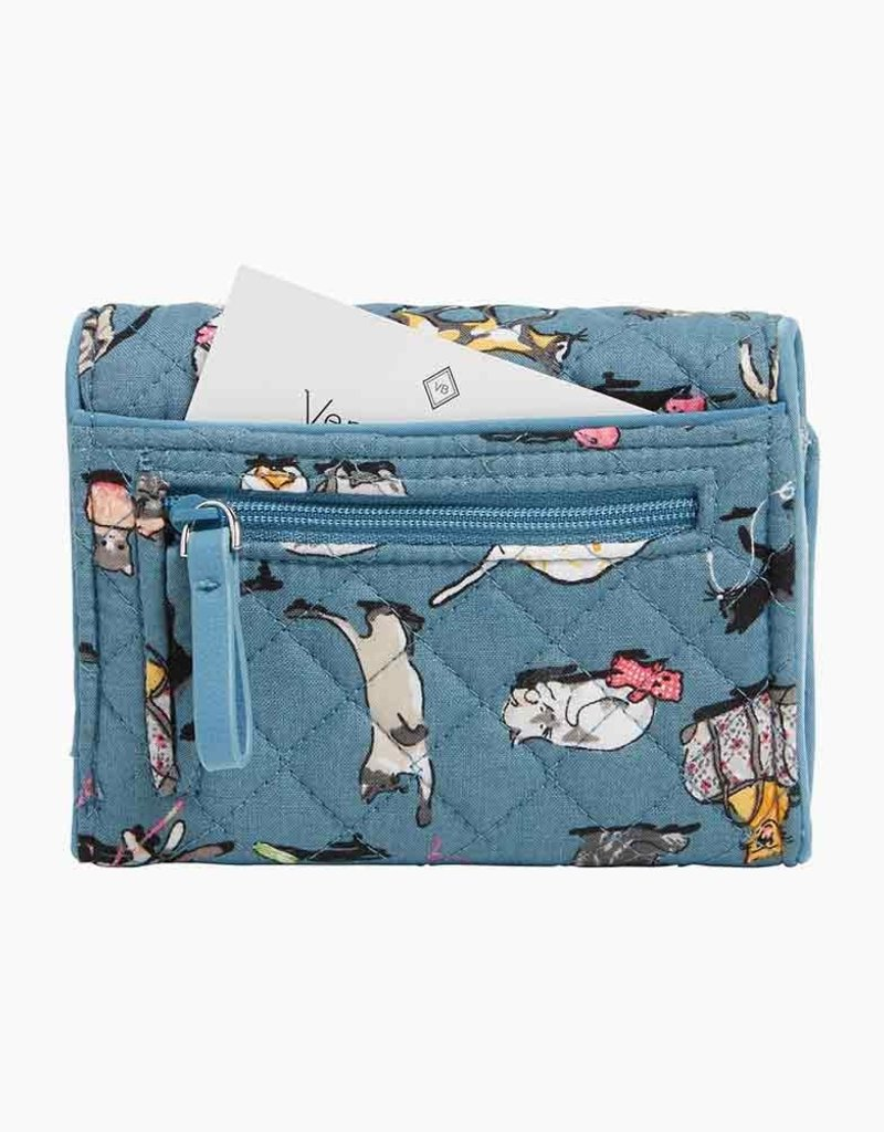 VERA BRADLEY 22868 Iconic RFID Riley Compact Wallet Cat's Meow