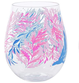 ACRYLIC STEMLESS WINE GLASS KALEIDOSCOPE CORAL