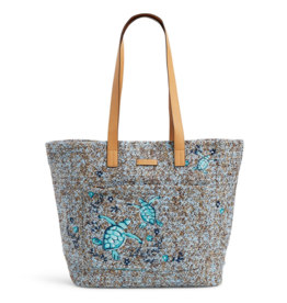 26564 Front Pocket Straw Tote Mint Brown Sea Life