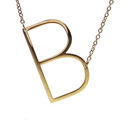 COOL AND INTERESTING B SIDEWAYS LARGE GOLD INITIAL NECKLACE CAI