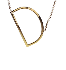 COOL AND INTERESTING D SIDEWAYS LARGE GOLD INITIAL NECKLACE CAI