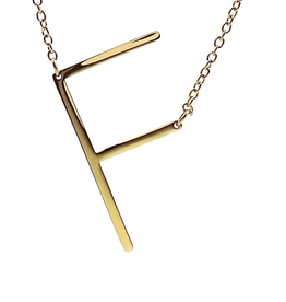 COOL AND INTERESTING F SIDEWAYS LARGE GOLD INITIAL NECKLACE CAI