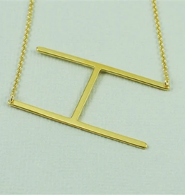 COOL AND INTERESTING H SIDEWAYS LARGE GOLD INITIAL NECKLACE CAI