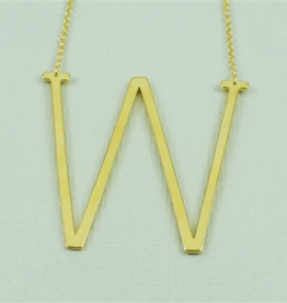 COOL AND INTERESTING W SIDEWAYS LARGE GOLD INITIAL NECKLACE CAI