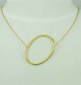 COOL AND INTERESTING O SIDEWAYS LARGE GOLD INITIAL NECKLACE CAI