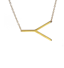 COOL AND INTERESTING Y SIDEWAYS LARGE GOLD INITIAL NECKLACE CAI