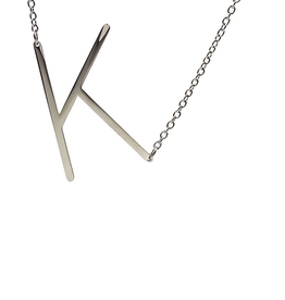 COOL AND INTERESTING K SIDEWAYS LARGE SILVER INITIAL NECKLACE CAI