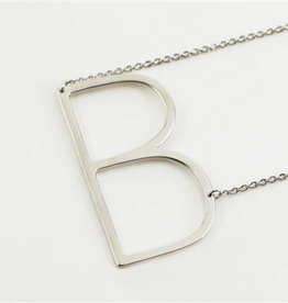 COOL AND INTERESTING B SIDEWAYS LARGE SILVER INITIAL NECKLACE CAI