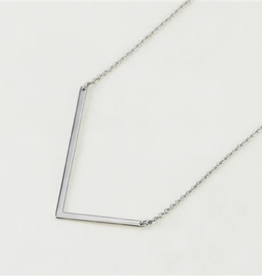 COOL AND INTERESTING L SIDEWAYS LARGE SILVER INITIAL NECKLACE CAI