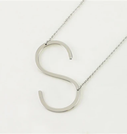 COOL AND INTERESTING S SIDEWAYS LARGE SILVER INITIAL NECKLACE CAI
