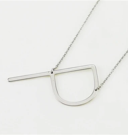 COOL AND INTERESTING P SIDEWAYS LARGE SILVER INITIAL NECKLACE CAI