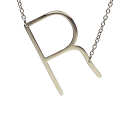 COOL AND INTERESTING R SIDEWAYS LARGE SILVER INITIAL NECKLACE CAI