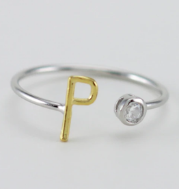 "INITIAL ""P"" Two Tone CZ RING"