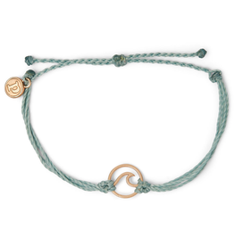 PURA VIDA Rose Gold Wave Bracelet Smoke Blue