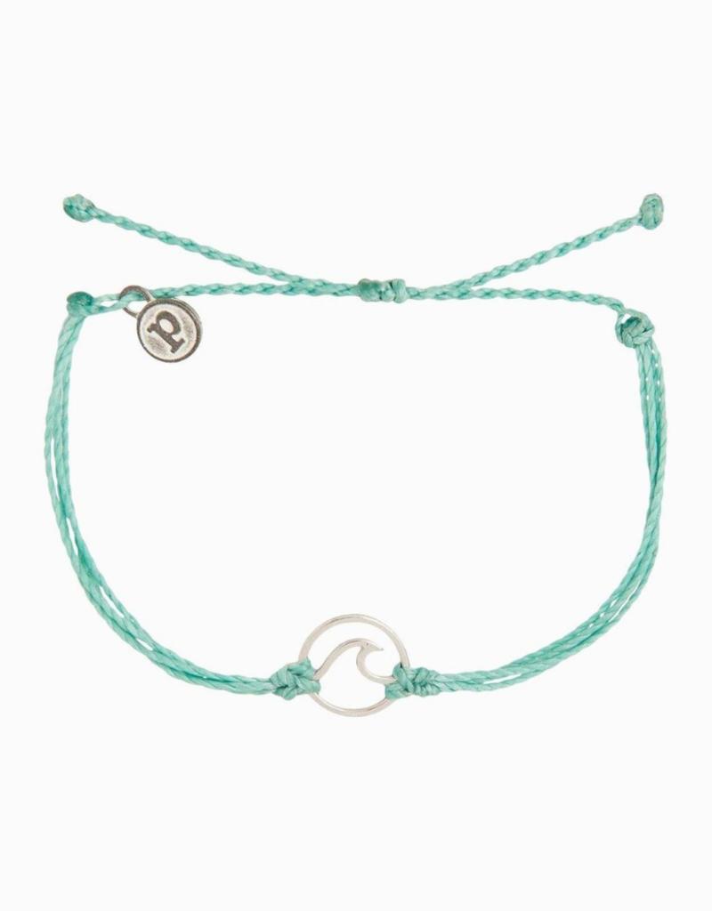 Silver Wave Bracelet Ice Blue Heart