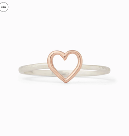 PURA VIDA SILVER OPEN HEART RING SIZE 8