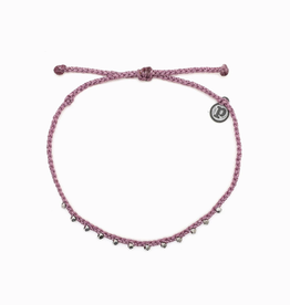 PURA VIDA Silver Stitched Bead Anklet Lavender