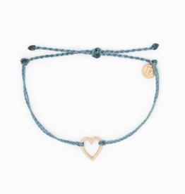 PURA VIDA ROSE GOLD OPEN HEART BRACELET DUSTY BLUE