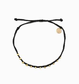 PURA VIDA Gold Stitched Bead Anklet Black