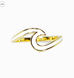 PURA VIDA GOLD ENAMEL WAVE RING SIZE 6