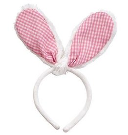 MUDPIE Headband Pink Gingham Bunny Ears