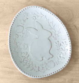 Platter Embossed w/ Floral Bunny in Light Blue