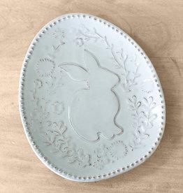 ROYAL STANDARD Platter Embossed w/ Floral Bunny in Light Blue