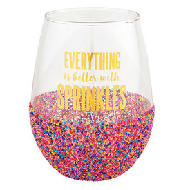 SLANT COLLECTIONS Stemless Wine Glass - Everything is Better With Sprinkles 20 oz.