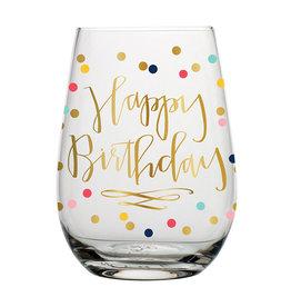 SLANT COLLECTIONS Happy Birthday Stemless Wine Glass 20oz.