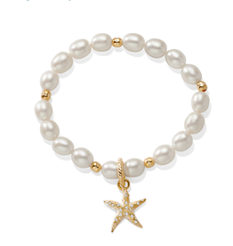 BRIGHTON JF7493 Sea Shore Pearl Starfish Stretch Bracelet Silver-Pearl OS