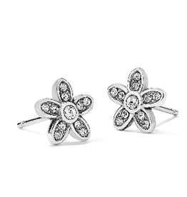 BRIGHTON Baroness Fiori Mini Post Earrings Silver