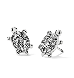 BRIGHTON J22311 Fortune Turtles Mini Post Earrings Silver