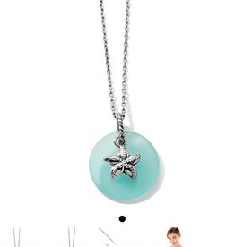 BRIGHTON JM2603 Sea Shore Star Glass Necklace Silver-Blue OS