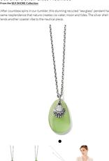 BRIGHTON JM2623 Sea Shore Shell Glass Necklace Silver-Green